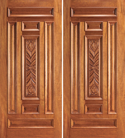 Wooden carving main doors native home garden design for Double door wooden door
