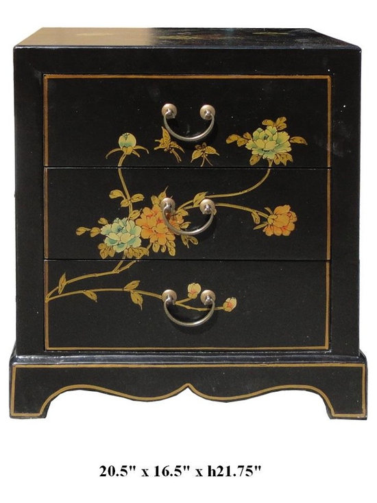 Chinese Black Leather Birds & Peony Flowers Motif Night Stand / End table - You are looking at a Chinese solid elm wood black leather based birds & peony flowers motif end table. This end table has a classic traditional design, inside is decorated with Chinese sayings and drawings. It is small but elegant. You can also use it as a night stand.