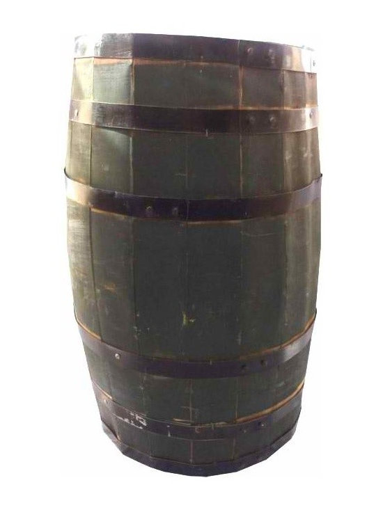 Large Green Barrel - Large green vintage barrel with six black straps. Paint and straps have some wear. Great for lightweight items. A great piece to add to your home.
