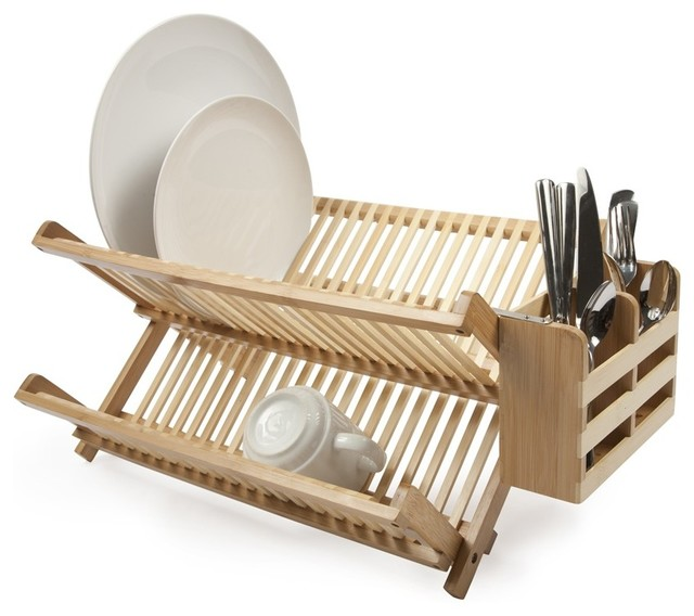 Bamboo Dish Rack With Utensil Holder Modern Utensil Holders And