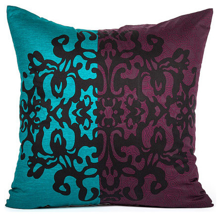 Turquoise And Purple Decorative Pillows : Black Damask Motif & Purple, Turquoise Bold Stripe Throw Pillow Cover - Traditional - Decorative ...