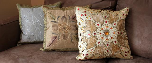 Fun Decorative Pillow Combinations - Asian - Pillows - boston - by Banarsi Designs