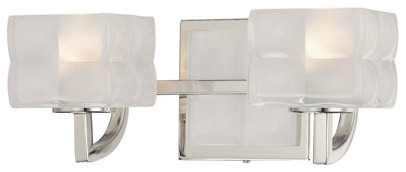Squared Polished Nickel Two-Light Bath Fixture contemporary-bathroom-vanity-lighting