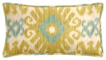 Florence Lemon Zest Ikat Lumbar Pillow contemporary-decorative-pillows