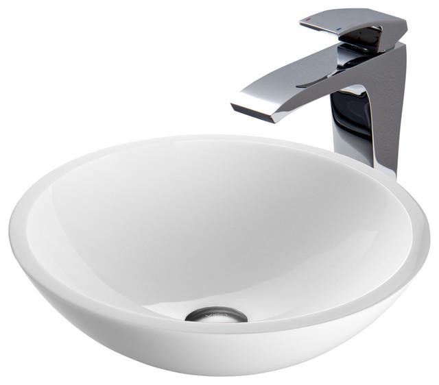 Vigo flat edged white phoenix stone glass vessel sink and for Flat bathroom sinks