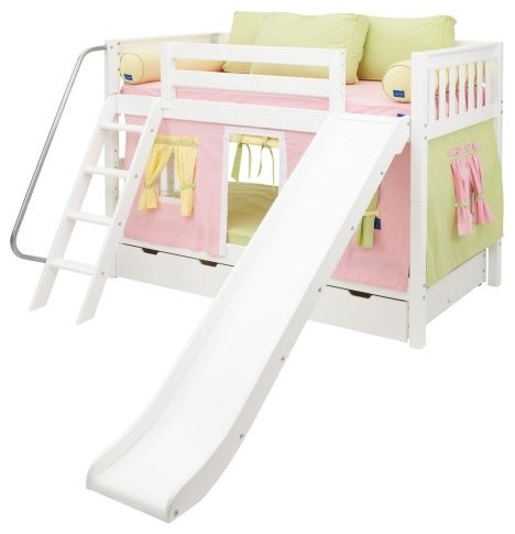 Laugh Girl Twin Over Twin Slat Slide Tent Bunk Bed