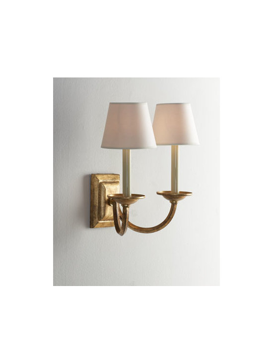 """VISUAL COMFORT - VISUAL COMFORT Double Arm """"Flemished"""" Sconce - Accentuate the ambiance of any setting with this double-arm sconce handcrafted of gilded iron. Each light is topped with a natural parchment shade. Designed by Earl F. Chapman for Visual Comfort. Made of iron. Uses two 60-watt bulbs. Professional..."""