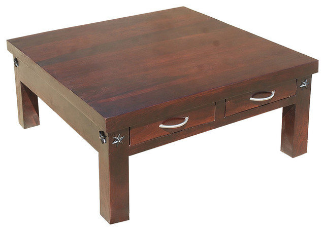 35 Amish Rosewood Square Coffee Table With 2 Drawers Rustic Coffee Tables By Sierra