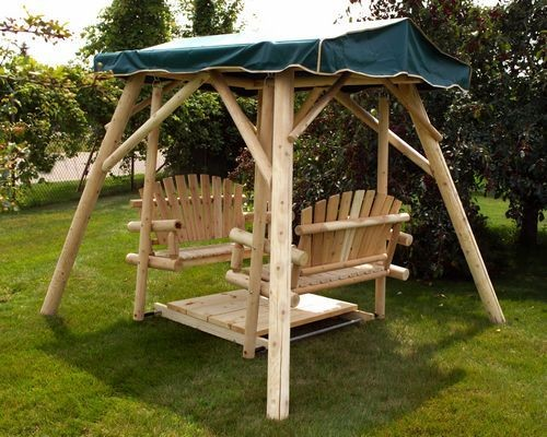 Double Glider Rustic Swing