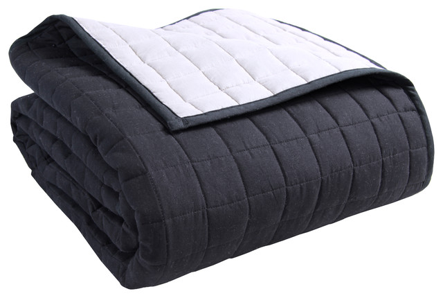 Quilted Reversable Bedspread Black Grey Modern Quilts And Quilt Sets