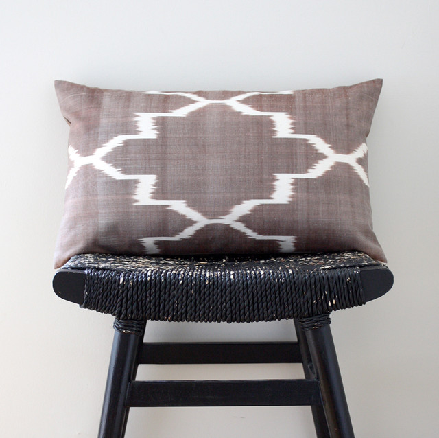 Brown Ikat Silk Cotton Cushion eclectic pillows