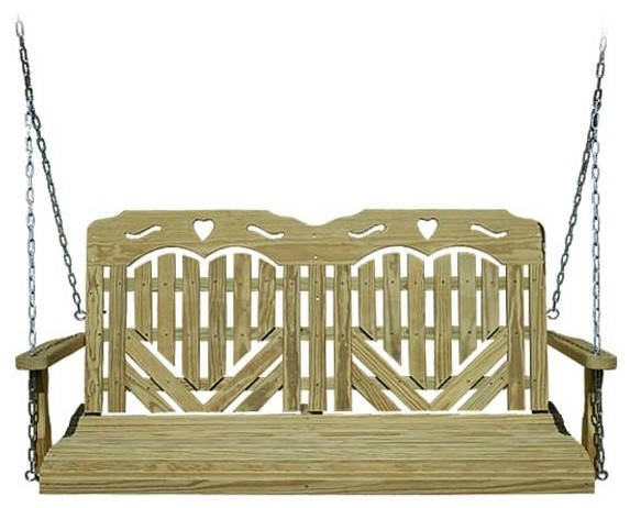 Treated Pine Heartback Porch Swing w/ Hearts & Scroll contemporary-patio-furniture-and-outdoor-furniture
