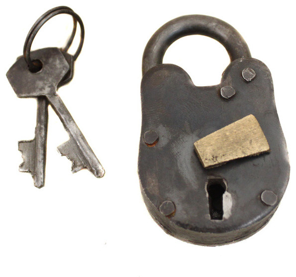 Antique lock reproduction with keys home decor by for Lock and key decor
