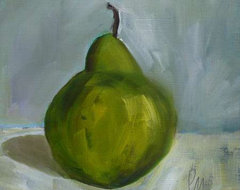 Oil Painting Green Pear By Pamela M traditional artwork