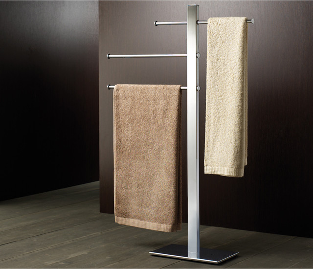 3 rung chrome towel stand contemporary towel racks for Bathroom accessories stand