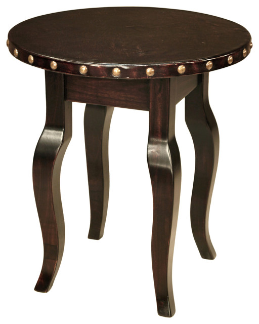 Santiago Modern Burnished Brass Drum Coffee Table: 24-inch Santiago Round Side Table