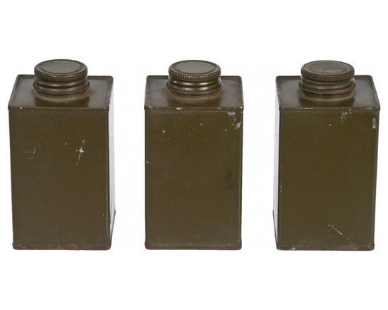 Square Army Tins - Set of three post-WWII square tins with screw top lids from an army mess tent in dark green rustic finish.