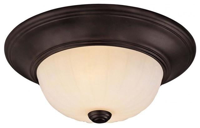 Two Light English Bronze Cream Ribbed Scavo Glass Bowl Flush Mount craftsman-ceiling-lighting