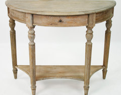 Traditional French Country Style Demilune Console Table farmhouse-side-tables-and-end-tables