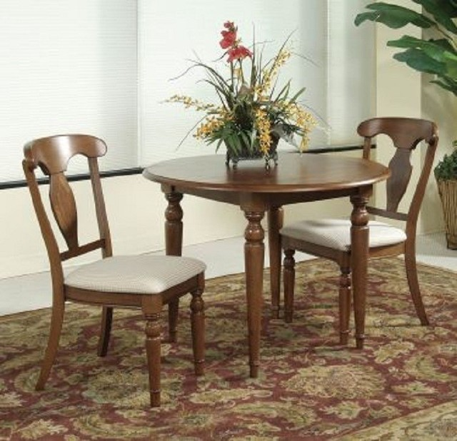 Bassett mirror 3 pc charles x round drop leaf table for 3 pc dining room set