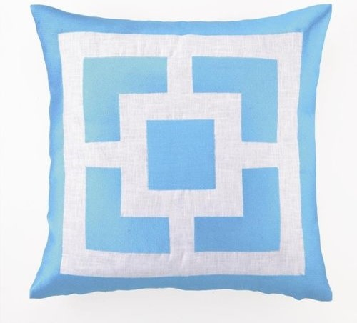 "Palm Springs Blocks EMB PLW Turquoise 20X20"" contemporary-decorative-pillows"