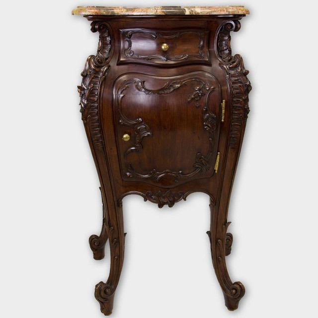 Antique Side Table With Marble Top Tables And End