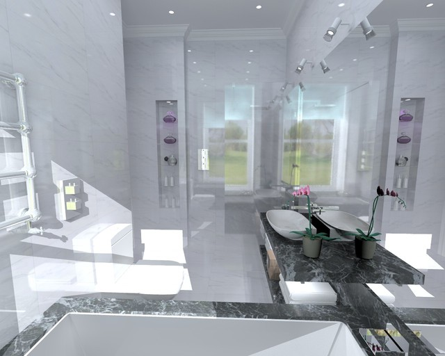 Three Bathroom Home Contemporary Rendering Glasgow By Bagnodesign Glasgow