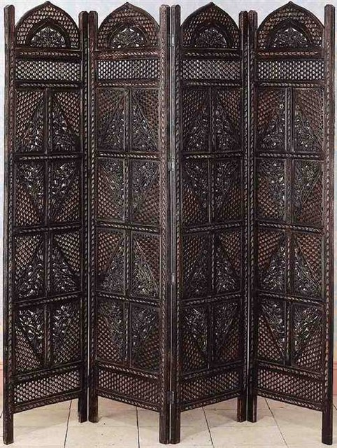 3 Panel Solid Wood Screen Room Divider Blinds Shades: Decorative Folding Screens