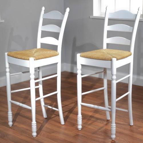 30 Quot Ladder Back Stool In White Set Of 2 Modern Bar