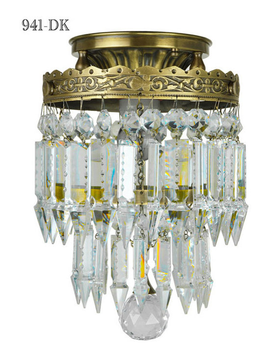 "Victorian Chandeliers - Here is a small unique crystal pendent.   Designed by Kenk 2012 design copyright.  It simply is a sophisticated impression in a smaller format.   Being only 8"" in diameter and having a height of approximately 11"",  this single light pendent fits where no other impressive fixture can."