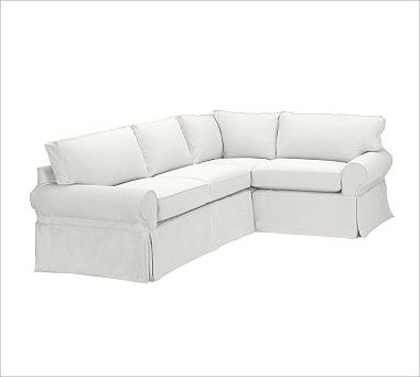 Pb Basic Left 3 Piece Small Sectional Slipcover Denim Warm White Traditional Sectional