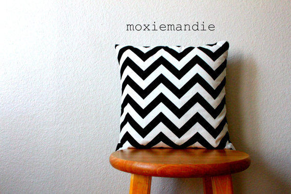 Black and White Chevron Stripe Pillow Cover by Moxie Mandie contemporary pillows