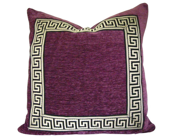 Therese Marie Designs - Purple Pillow with Greek Key Trim - Berry velvet is adorned with a black and tan Greek key trim at the perimeter.  All fabrics are medium weight.