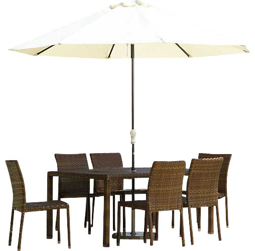 Panama Jack St Barths 7 Piece Rectangular Dining Side Chair Set traditional-patio-furniture-and-outdoor-furniture