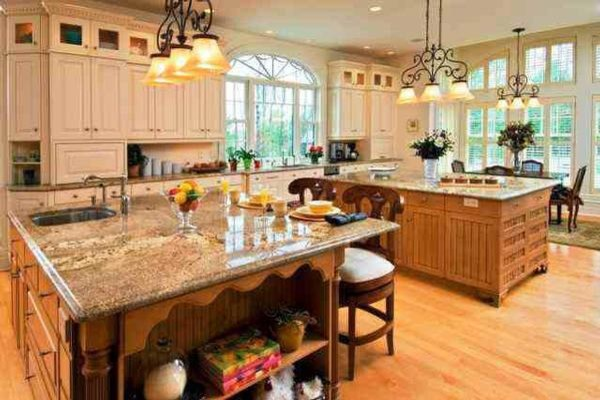 His and Hers island traditional kitchen