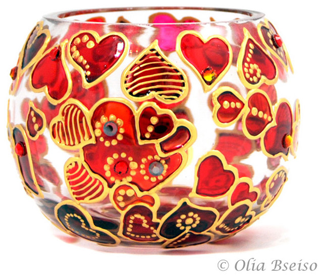 Hand Painted Glass Candle Holder, Hearts contemporary-candleholders
