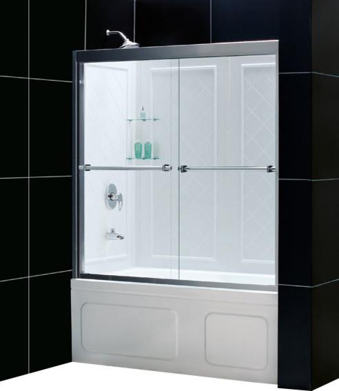 "DreamLine Duet 56 to 59"" Frameless Bypass Sliding Tub Door and contemporary-shower-doors"