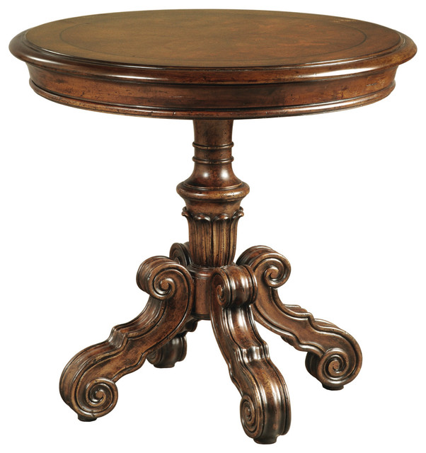 Hillcrest Round Pedestal End Table Traditional Side