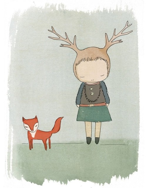 Whimsical Deer Print with Red Fox by Honey Cup contemporary-artwork