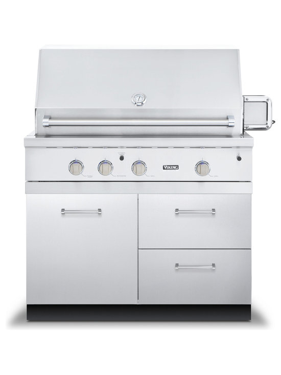 "Viking 42"" Grill Base Cabinet With 2 Drawers, Stainless Steel 