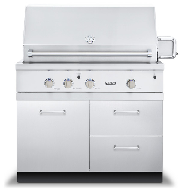 Viking 42 Grill Base Cabinet With 2 Drawers Stainless Steel