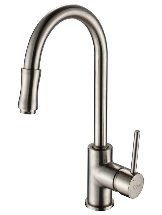 Kraus - Kraus KPF-1622-KSD-30CH Single Lever Pull Down Kitchen Faucet, Satin Nickel, 15 - Update the look of your kitchen with this multi-functional Kraus pull-out faucet