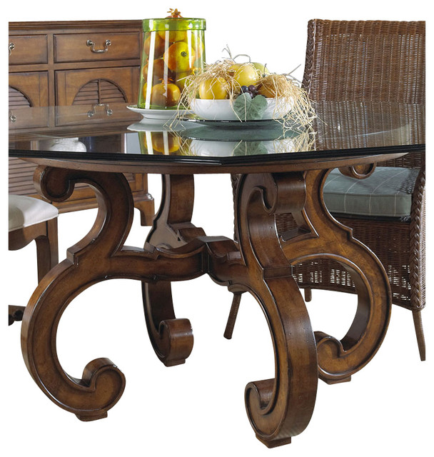 summer home octagon glass top dining table in lodge