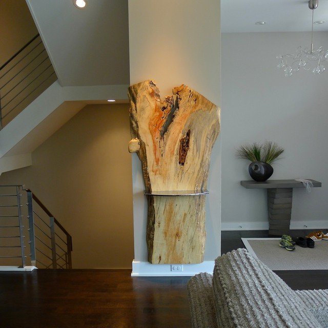PRADDs Wall Mounted Live Edge Slab Console WStainless