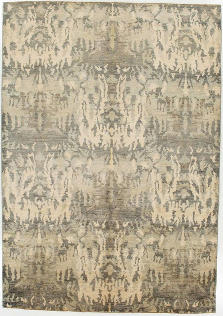 Oriental Ikat Rug Without Borders Grey And Tan 6x8 5