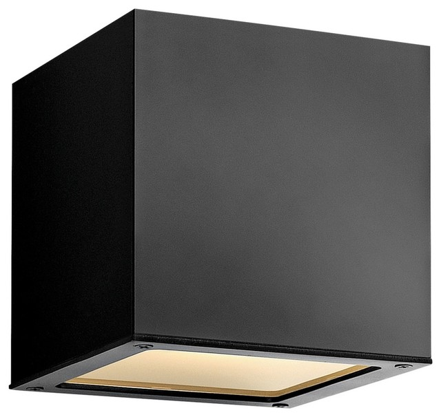 "Contemporary Hinkley Kube Up-Down 6"" High Satin Black Wall Light"