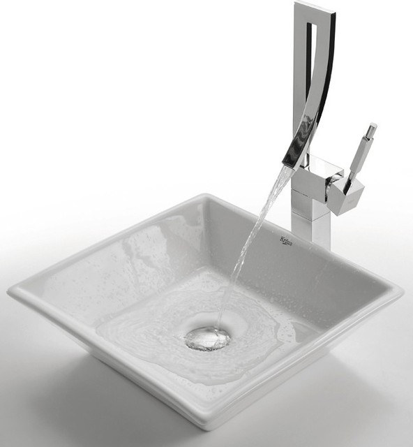 ... White Square Ceramic Sink and Millennium Faucet modern-bathroom-sinks