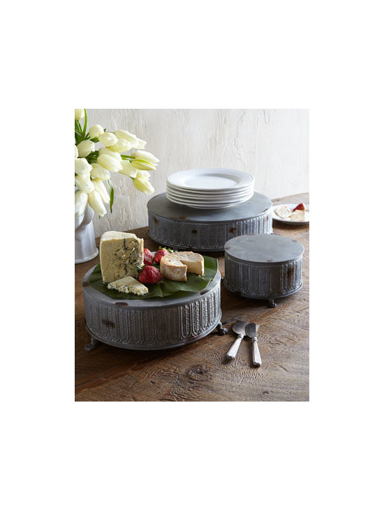 "Park Hill Collections - Park Hill Collections Three ""Old Metal"" Pedestals - Shabby-chic pedestals can be stacked for tiered display or used individually. Distressing adds to their rustic appeal. Handcrafted of embossed tin. Distressed, weathered-gray finish. Line before use with food. Set of three includes one of each of th..."