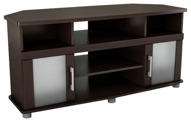 South Shore City Life Corner LCD TV Stand in Chocolate Finish modern-entertainment-centers-and-tv-stands