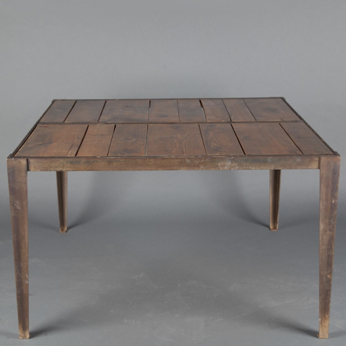 Industrial Pine Top Table eclectic dining tables